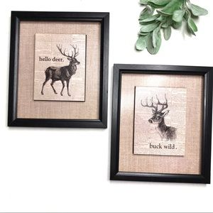 Set of 2 Deer wall prints